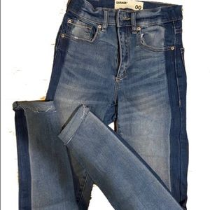 Garage high rise, two-toned skinny blue Jeans size 00